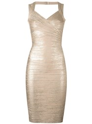 Herve Leger Metallic Grey Fitted Dress