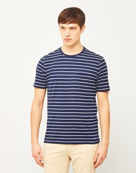 The Idle Man Yarn Dyed Stripe T Shirt Navy