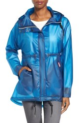 Hunter Women's 'Original Smock' Hooded Drawstring Waterproof Jacket Ocean Blue