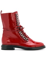 Casadei Flat Lace Up Boots Red