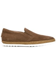 Tod's Rope Trim Slip On Shoes Brown