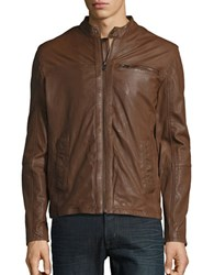 Cole Haan Leather Moto Jacket British Tan