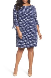 Tahari Plus Size Women's Tie Sleeve Matte Jersey Shift Dress