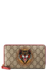 Gucci Women's Embroidered Angry Cat Gg Supreme Canvas Zip Around Wallet Beige Beige Ebony Multi