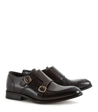 Reiss Rilmont Double Monk Strap Shoes In Dark Brown