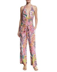Etro Floral Paisley Silk Coverup Pants Red Multi