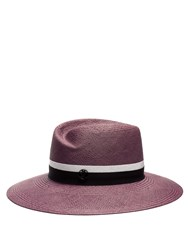 Maison Michel Virginie Straw Hat Pink