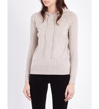 The White Company Pointelle Detail Wool And Cashmere Blend Hoody Taupe Marl