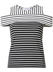 Derek Lam 10 Crosby Cut Off Striped Blouse White