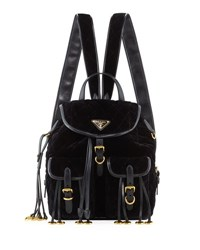 Prada Large Quilted Velvet Backpack Black