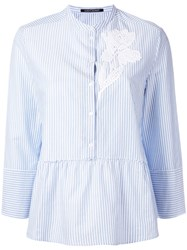 Luisa Cerano Floral Embroidered Pleated Shirt White