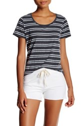 Marc New York Striped Scoop Neck Tee Gray