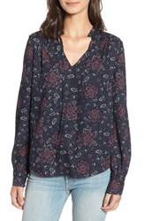 Hinge Ruffle V Neck Blouse Navy Night Woven Floral