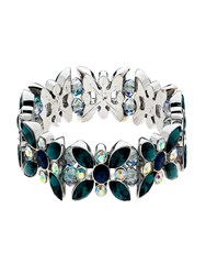 Monet Peacock Crystal Stretch Bracelet Silver