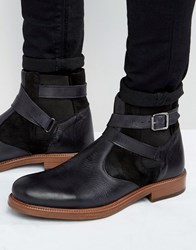 Asos Chelsea Boots In Black Leather With Faux Shearling Lining Black