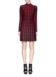 Azzedine Alaia 'Soleil' Polka Dot A Line Knit Dress Red