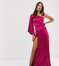 Missguided Tall One Shoulder Drape Maxi Dress In Raspberry Pink