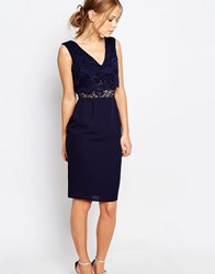 Elise Ryan 2 In 1 Lace Top Pencil Dress Navy