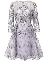 Marchesa Notte Mesh Embroidered Dress Pink And Purple
