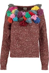 Stella Jean Embellished Wool Alpaca And Silk Blend Sweater Brick