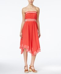 American Rag Embroidered Strapless Dress Only At Macy's Orange