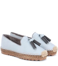 Brunello Cucinelli Leather Espadrilles Blue