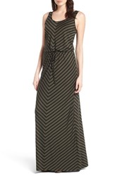 Caslonr Women's Caslon Drawstring Waist Maxi Dress Olive Black Rena Stripe