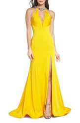 Mac Duggal 'S Jewel Neck Mermaid Gown Sunshine