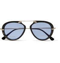 Tom Ford Private Collection Aviator Style Horn And Gold Tone Sunglasses Black