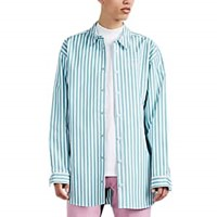 Martine Rose Candy Striped Bonded Cotton Poplin Oversized Shirt White