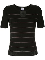 Chanel Vintage Knitted Striped Top Black