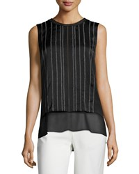 Vince Embroidered Double Layer Sleeveless Top Women's Black Off White