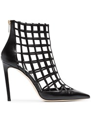 Jimmy Choo Black Sheldon 100 Caged Leather Boots