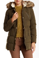 Nautica Faux Fur Hood Quilted Jacket Green