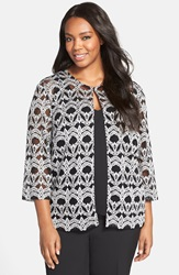 Alex Evenings Lace Print Twinset Plus Size Black White