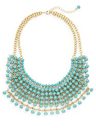 Cara Beaded Bib Necklace Turquoise
