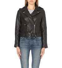 Karen Millen Leather Military Biker Jacket Black