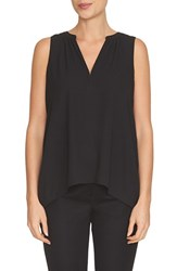 Women's Cece By Cynthia Steffe V Neck Sleeveless Crepe Blouse Rich Black