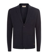 Burberry Wool Cashmere Knitted Jacket Male Navy