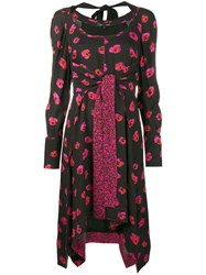 Proenza Schouler Floral Print Long Sleeve Dress Women Silk Viscose 4 Black