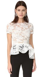 Reem Acra Short Sleeve Lace Top Cream