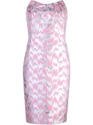 Jeremy Scott Strapless Jacquard Dress Pink And Purple