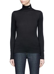 Calvin Klein 205W39nyc '205' Embroidered Turtleneck Long Sleeve T Shirt Black
