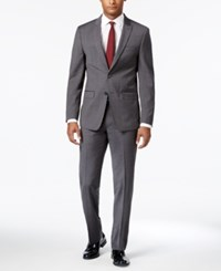 Calvin Klein Men's Extra Slim Fit Gray Shadow Mini Check Suit