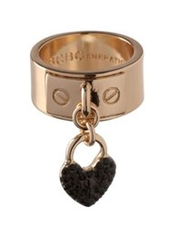 Bcbgeneration Keys To My Heart Crystal Heart Charm Ring Rose Gold