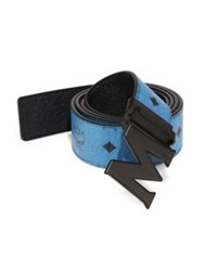 Mcm Logo Leather Trimmed Belt Munich Blue