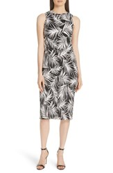 Boss Emago Palm Print Sheath Dress Palmleaf Print Leaf