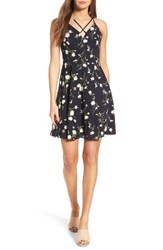 Soprano Women's Strappy Fit And Flare Dress 845 Navy Floral