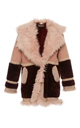 Roberto Cavalli Ribbon Trim Shearling Coat Multi
