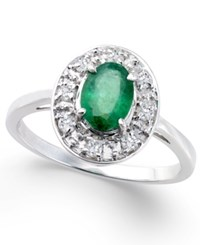 Macy's Emerald 3 4 Ct. T.W. And Diamond 1 5 Ct. T.W. Oval Ring In 14K White Gold